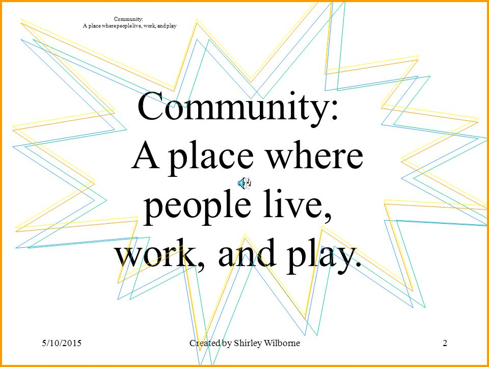 5/10/2015Created by Shirley Wilborne2 Community: A place where people live, work, and play. Community: A place where people live, work, and play