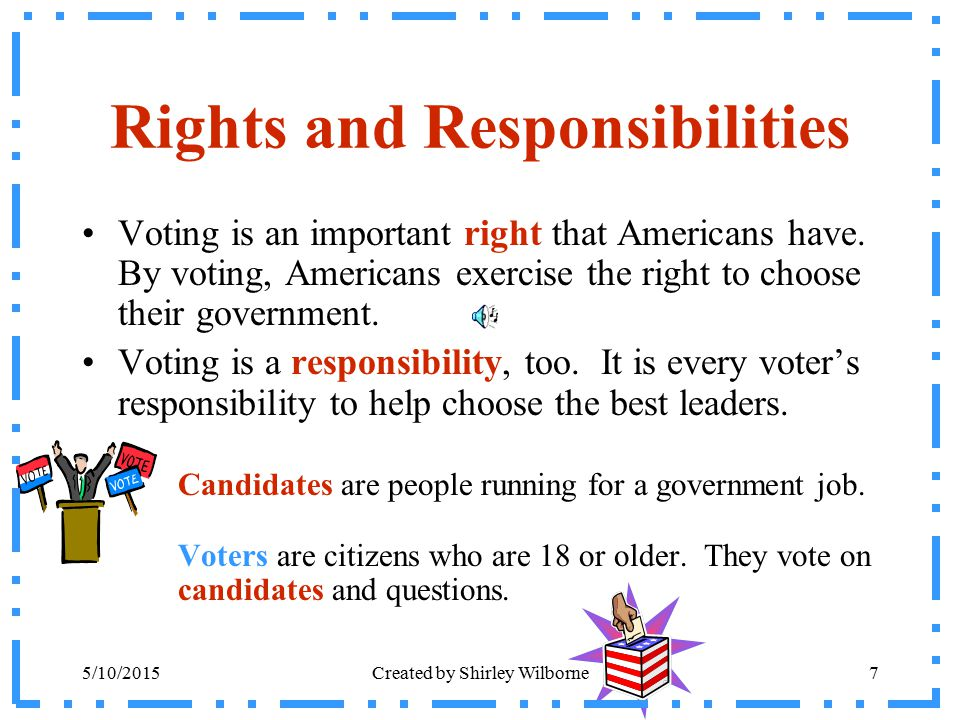 5/10/2015Created by Shirley Wilborne7 Rights and Responsibilities Voting is an important right that Americans have. By voting, Americans exercise the