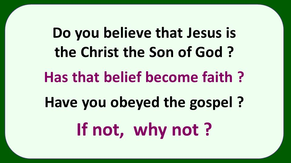 Do you believe that Jesus is the Christ the Son of God ? Has that belief become faith ? Have you obeyed the gospel ? If not, why not ?