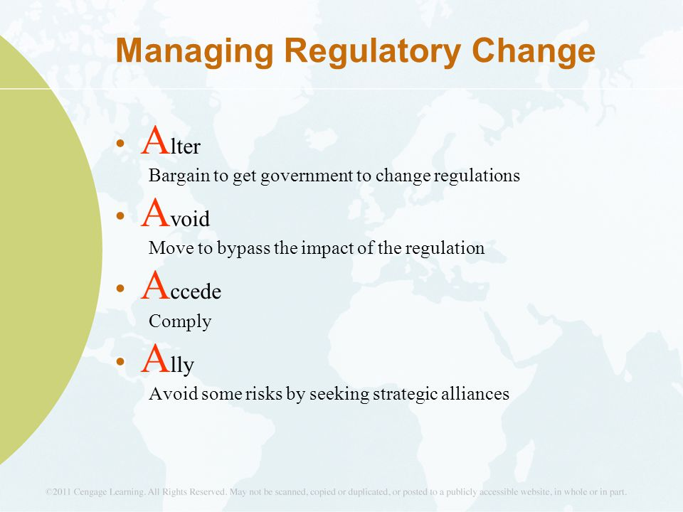 Managing Regulatory Change A lter Bargain to get government to change regulations A void Move to bypass the impact of the regulation A ccede Comply A lly Avoid some risks by seeking strategic alliances