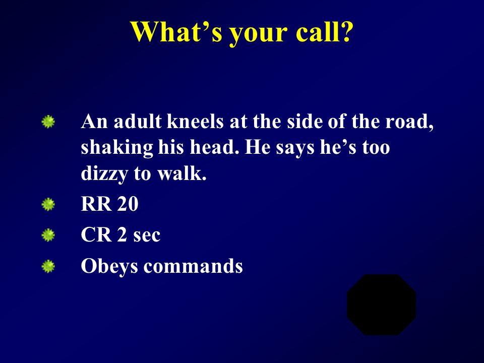 What's your call? An adult kneels at the side of the road, shaking his head. He says he's too dizzy to walk. RR 20 CR 2 sec Obeys commands