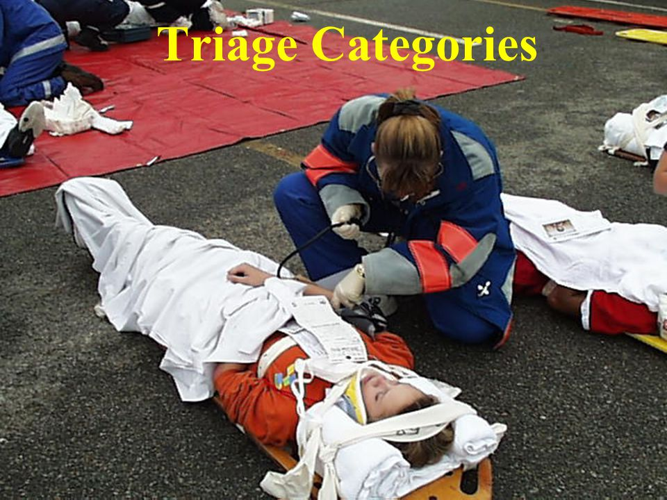NATO Guidelines Red Airway obstruction, cardiorespiratory failure, significant external hemorrhage, shock, sucking chest wound, burns of face or neck Yellow Open thoracic wound, penetrating abdominal wound, severe eye injury, avascular limb, fractures, significant burns other than face, neck or perineum