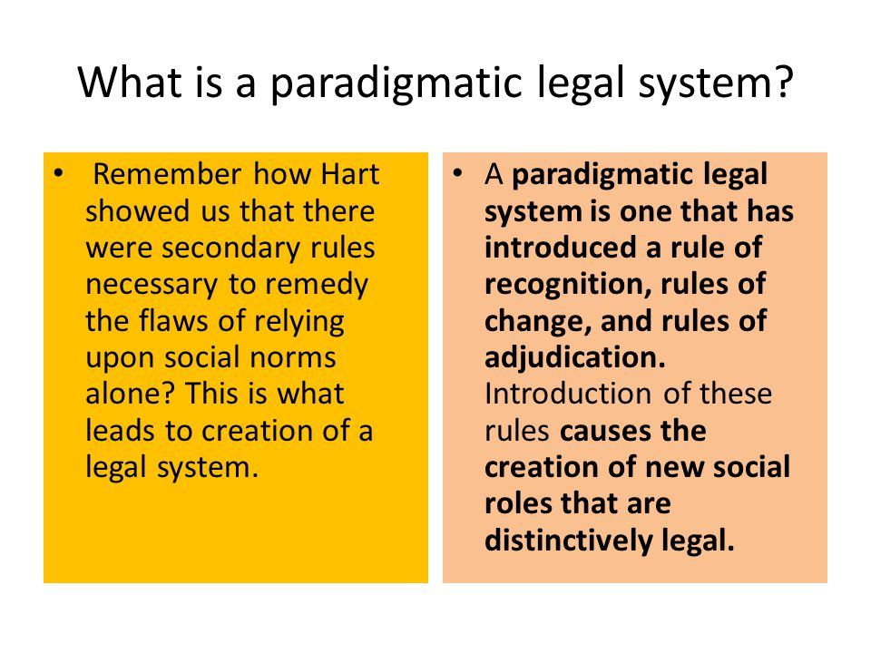 What is a paradigmatic legal system? Remember how Hart showed us that there were secondary rules necessary to remedy the flaws of relying upon social