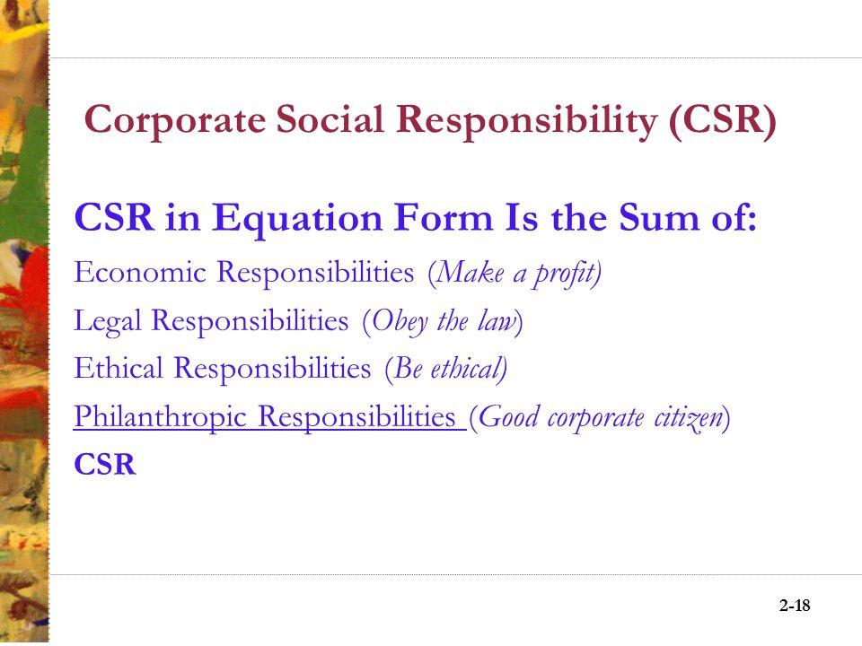 2-17 Pyramid of CSR Philanthropic Responsibilities Philanthropic Responsibilities Be a good corporate citizen.