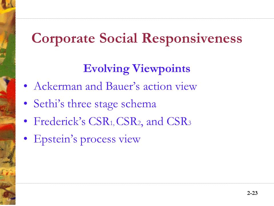 2-22 Corporate Social Responsibility (CSR) Business Responsibilities in the 21 st Century Demonstrate a commitment to society's values and contribute to society's social, environmental, and economic goals through action.