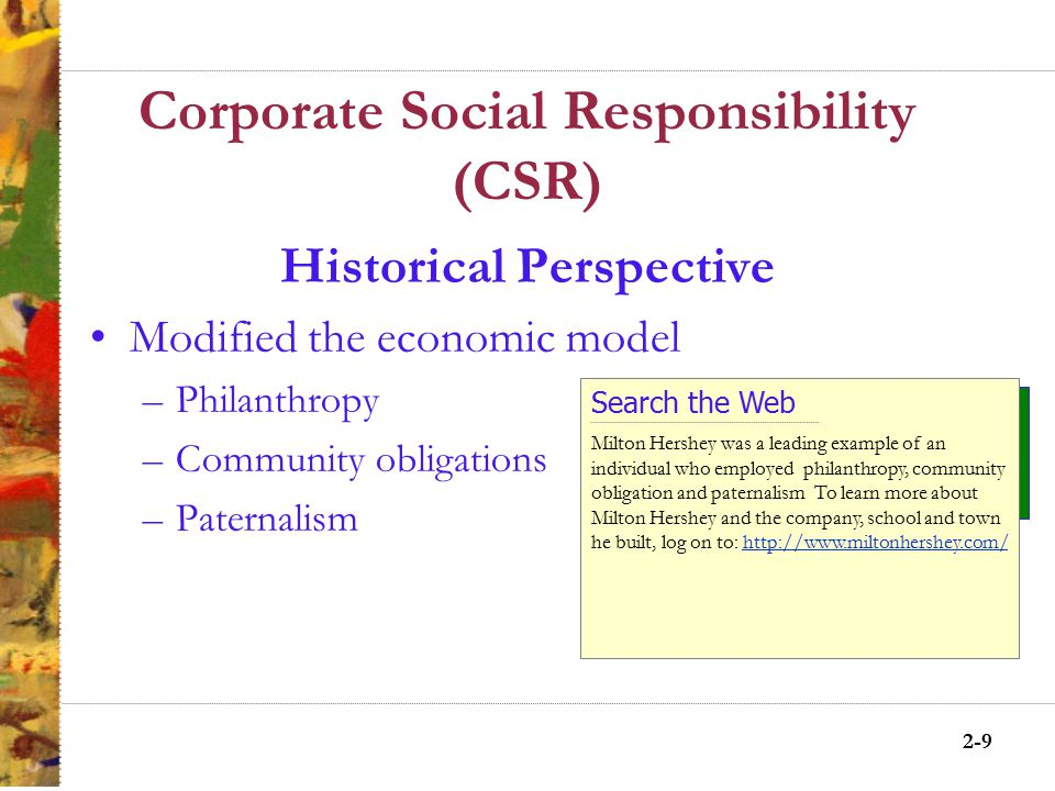 2-8 Corporate Social Responsibility (CSR) Historical Perspective Economic model – the invisible hand of the marketplace protected societal interest Legal model – laws protected societal interests