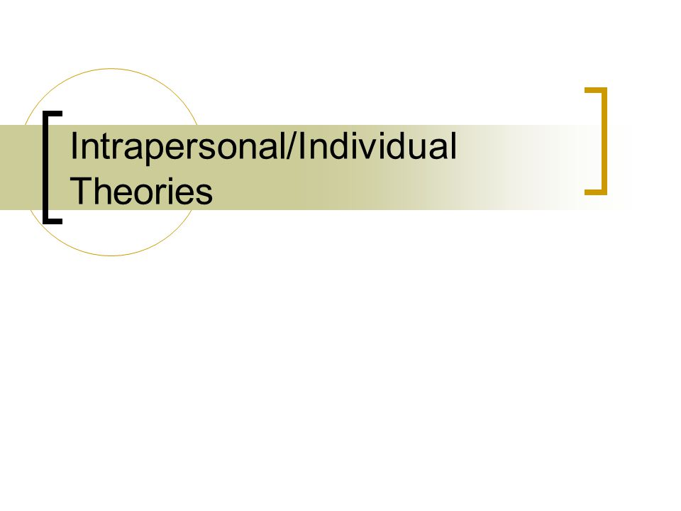 Intrapersonal/Individual Theories
