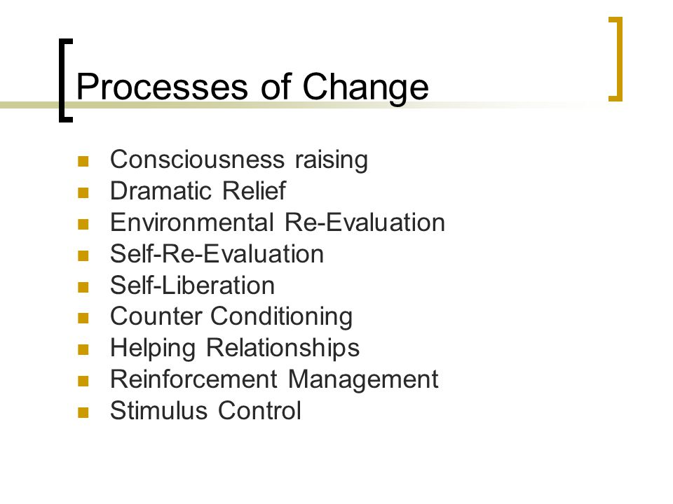 Processes of Change Consciousness raising Dramatic Relief Environmental Re-Evaluation Self-Re-Evaluation Self-Liberation Counter Conditioning Helping