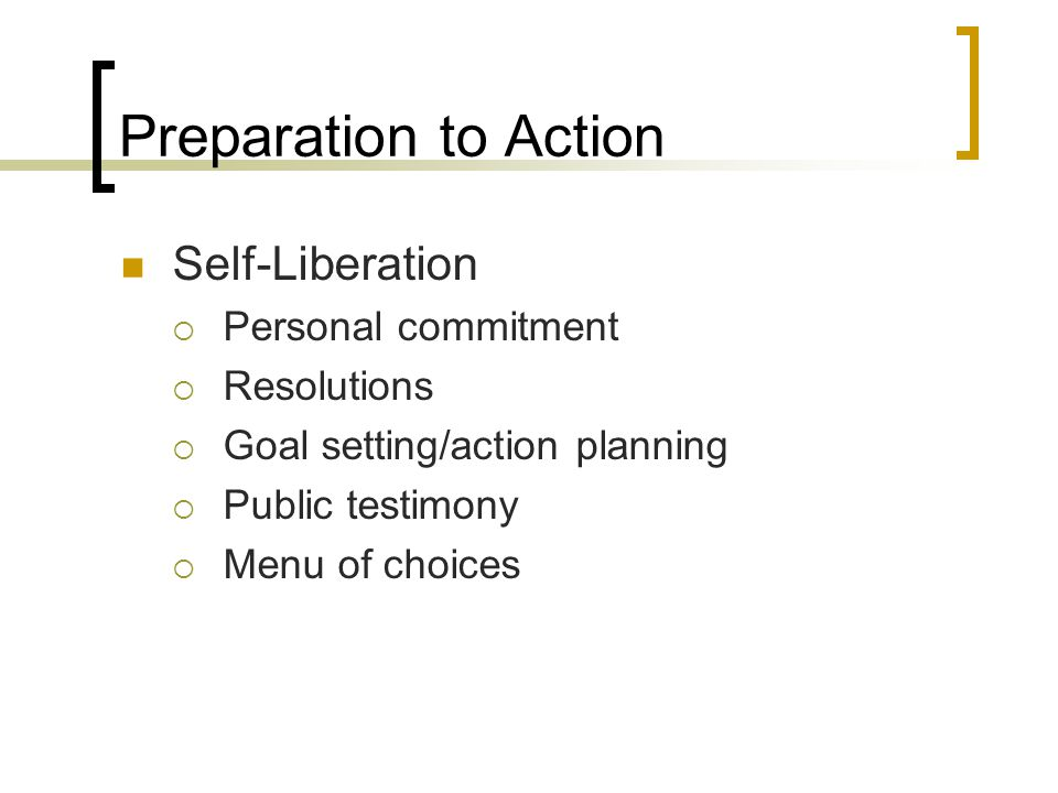 Preparation to Action Self-Liberation  Personal commitment  Resolutions  Goal setting/action planning  Public testimony  Menu of choices
