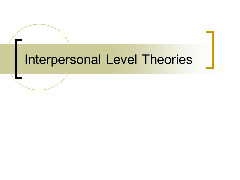 Interpersonal Level Theories