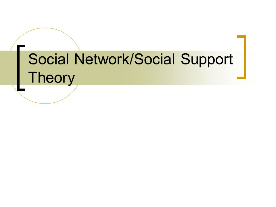 Social Network/Social Support Theory