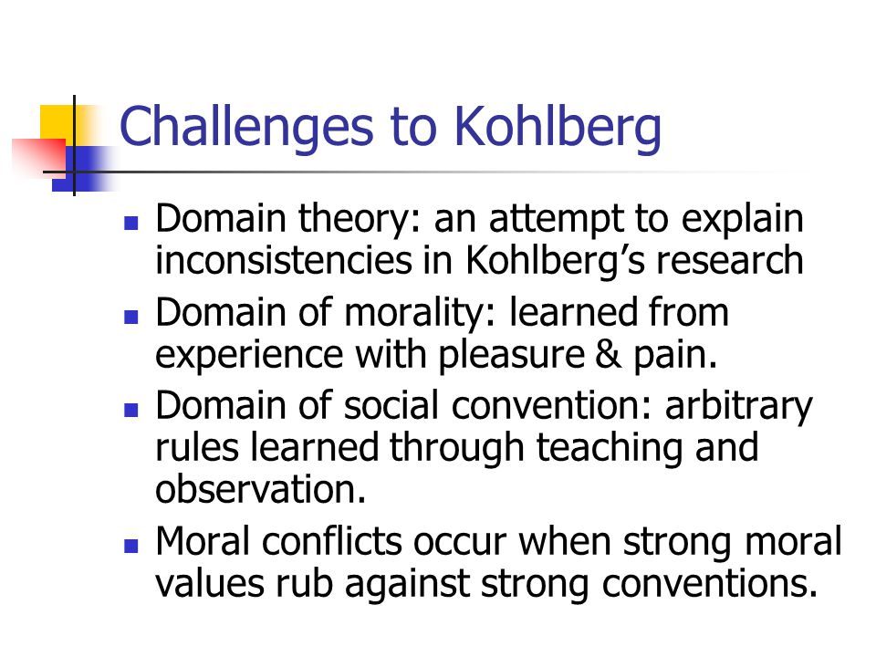 Challenges to Kohlberg Domain theory: an attempt to explain inconsistencies in Kohlberg's research Domain of morality: learned from experience with pleasure & pain.