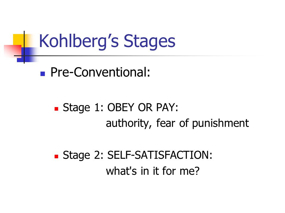 Kohlberg's Stages Pre-Conventional: Stage 1: OBEY OR PAY: authority, fear of punishment Stage 2: SELF-SATISFACTION: what s in it for me?