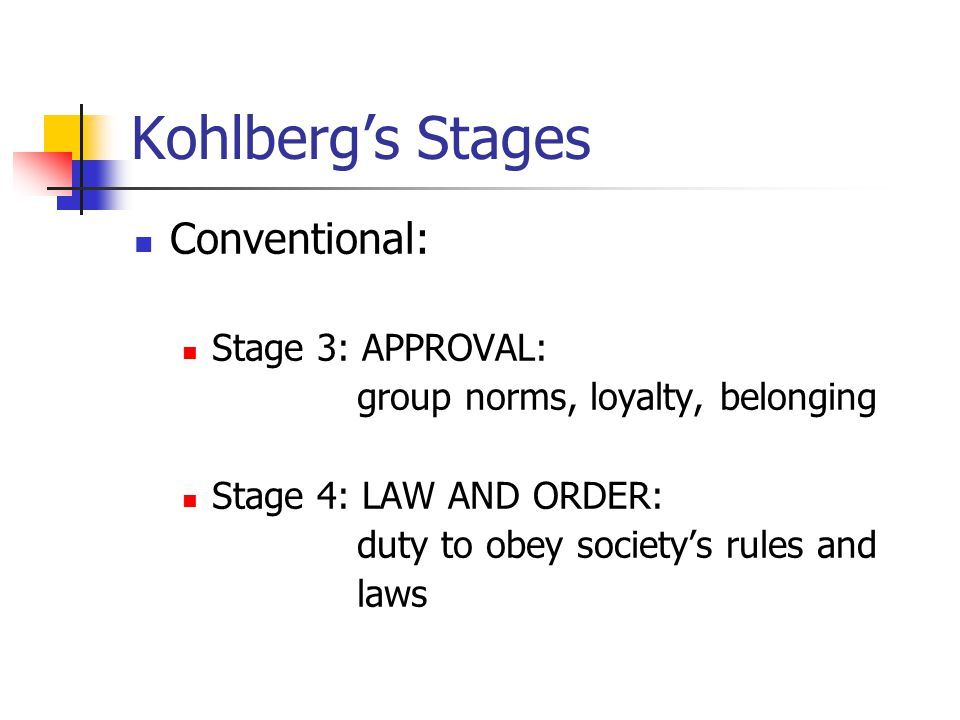 Kohlberg's Stages Conventional: Stage 3: APPROVAL: group norms, loyalty, belonging Stage 4: LAW AND ORDER: duty to obey society's rules and laws