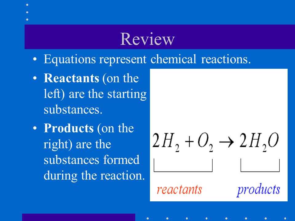 Review Equations represent chemical reactions. Reactants (on the left) are the starting substances.