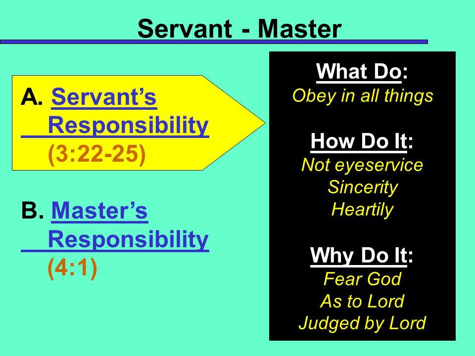 Servant - Master A. Servant's Responsibility (3:22-25) B.