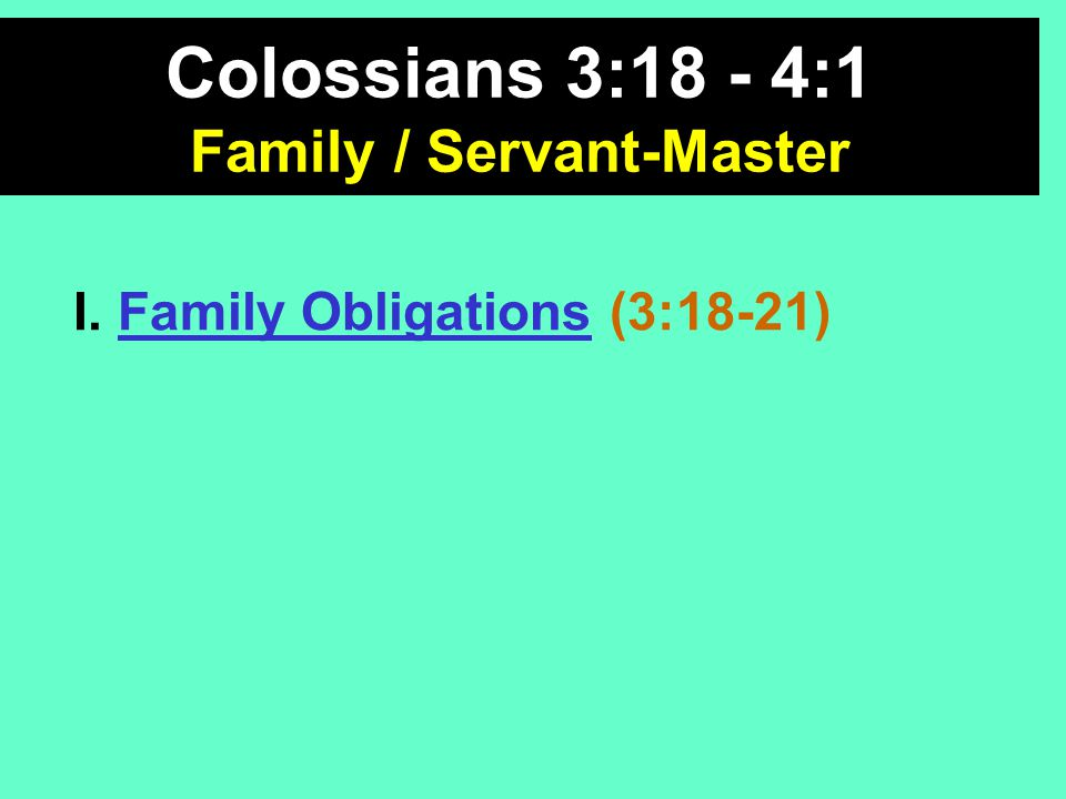 Family Obligations A.Wives (v. 18) B. Husbands (v.