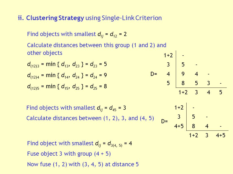 ii. Clustering Strategy using Single-Link Criterion Find objects with smallest d ij = d 12 = 2 Calculate distances between this group (1 and 2) and ot