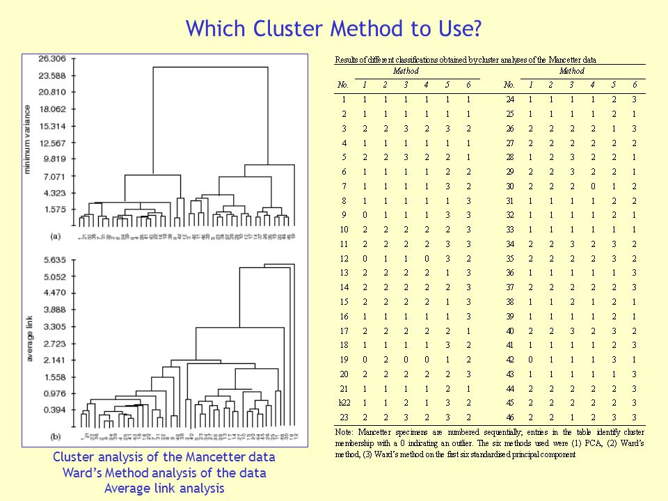 Cluster analysis of the Mancetter data Ward's Method analysis of the data Average link analysis Which Cluster Method to Use?
