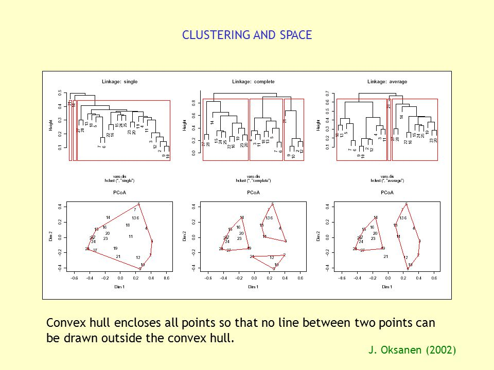 CLUSTERING AND SPACE Convex hull encloses all points so that no line between two points can be drawn outside the convex hull. J. Oksanen (2002)
