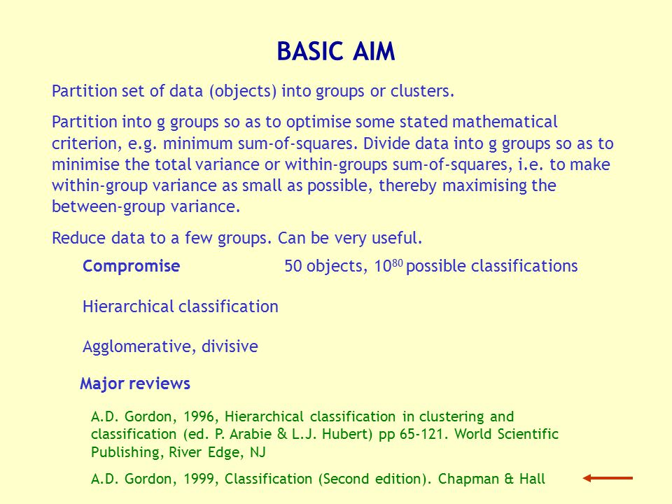 Classification not an end in itself.Means to an end.