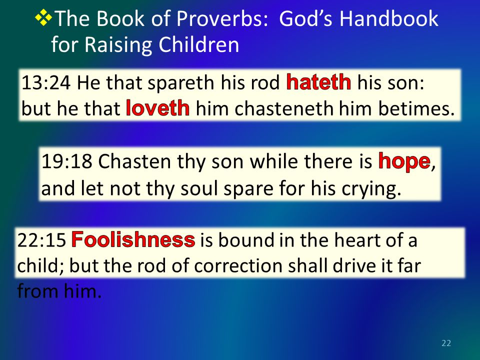  The Book of Proverbs: God's Handbook for Raising Children 22