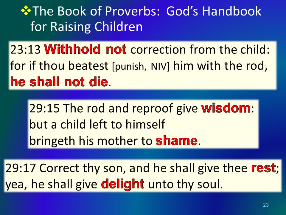  The Book of Proverbs: God's Handbook for Raising Children 23