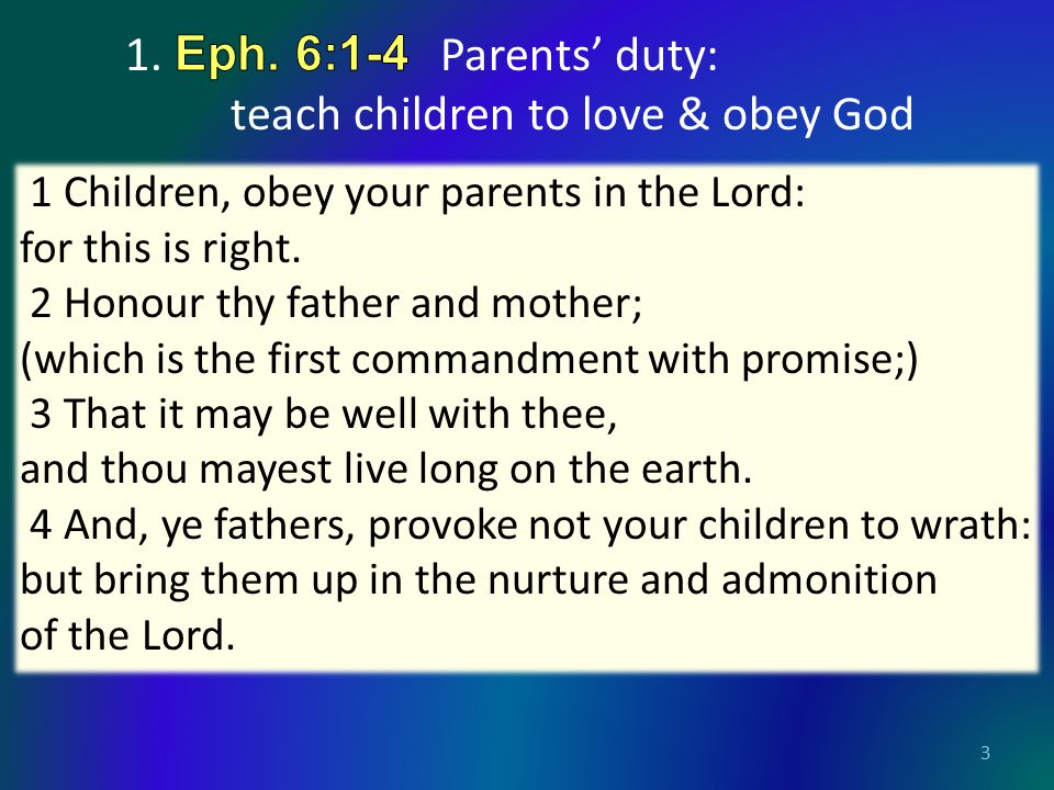 3 1 Children, obey your parents in the Lord: for this is right.