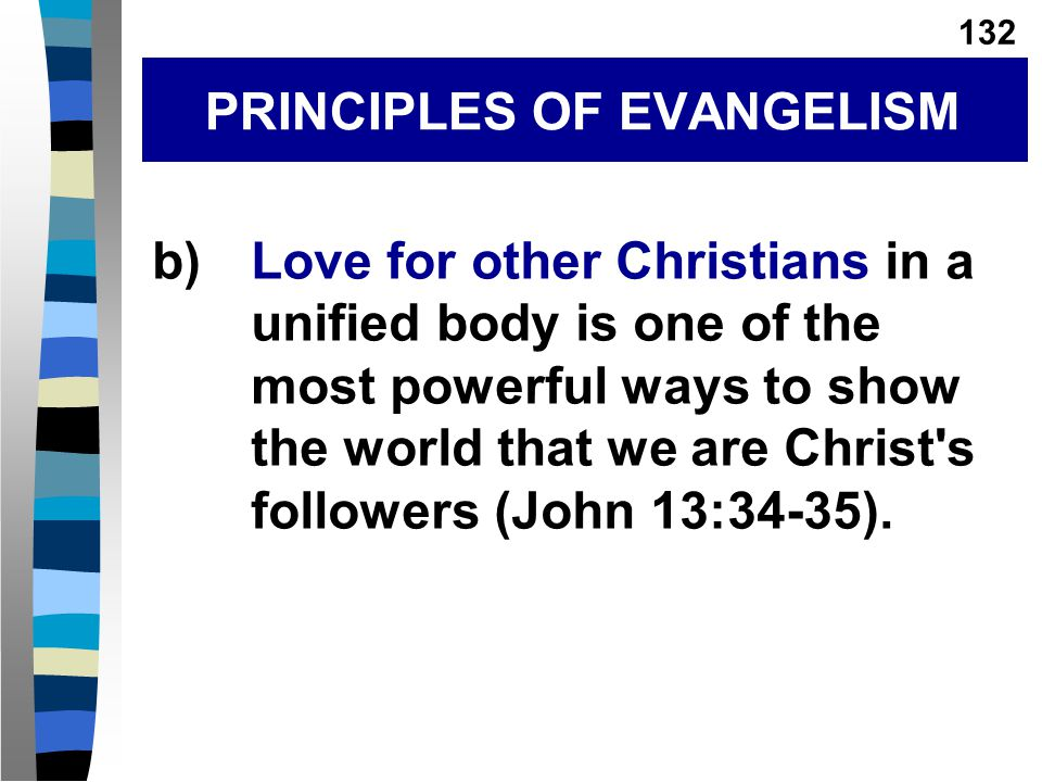 b)Love for other Christians in a unified body is one of the most powerful ways to show the world that we are Christ s followers (John 13:34-35).
