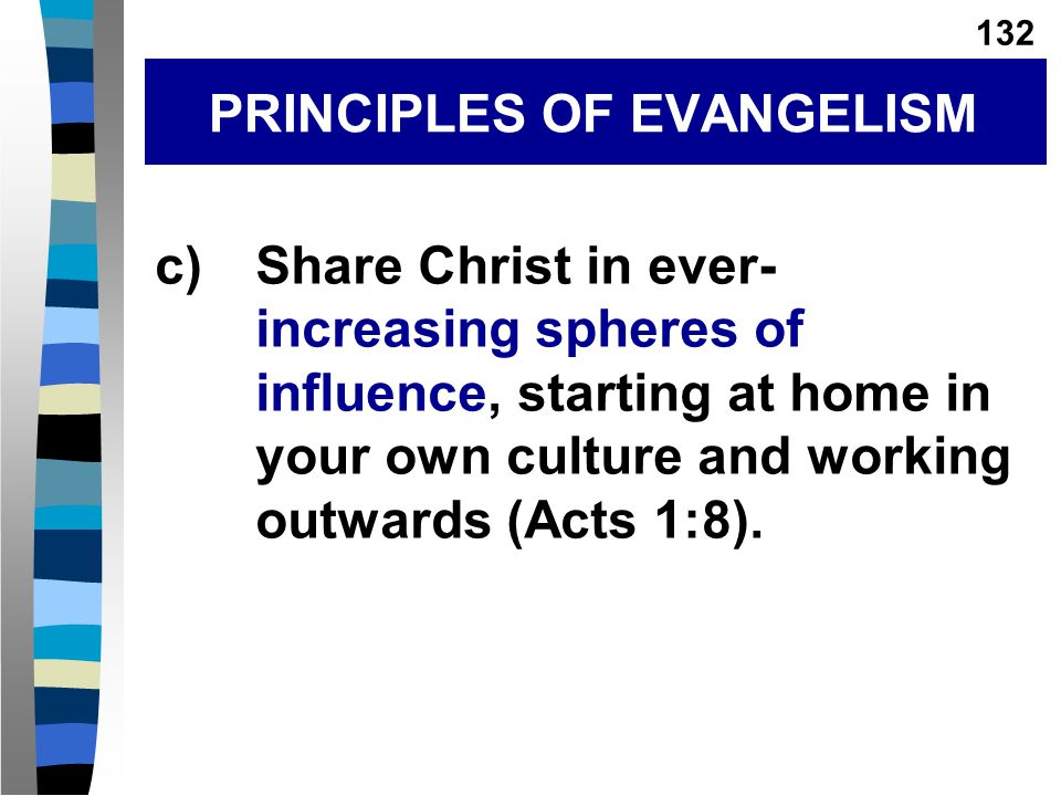 c)Share Christ in ever- increasing spheres of influence, starting at home in your own culture and working outwards (Acts 1:8).