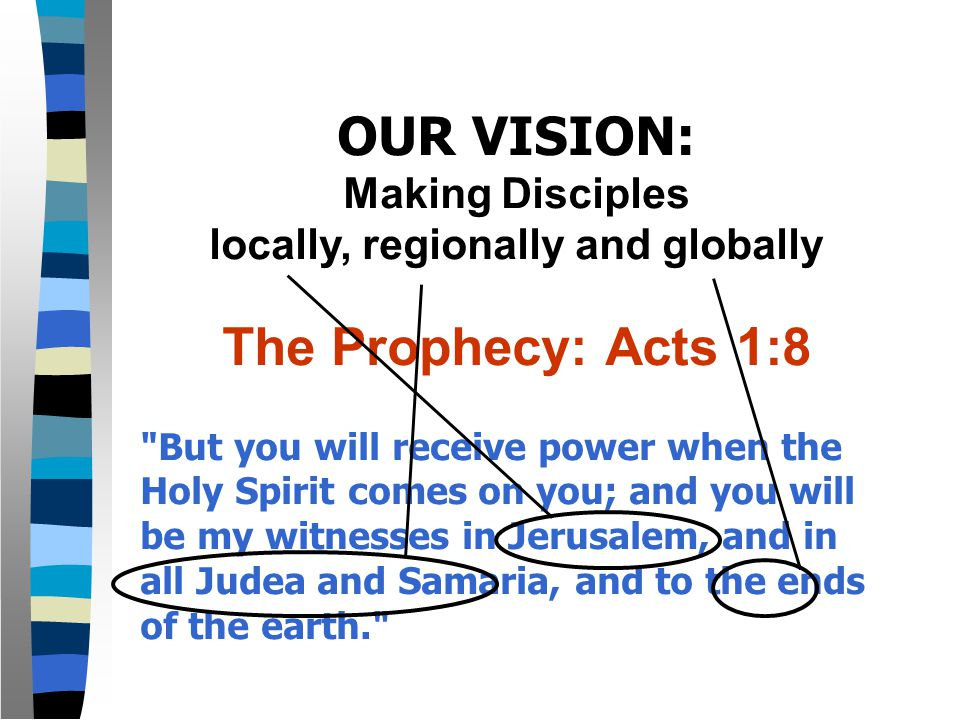 OUR VISION: Making Disciples locally, regionally and globally The Prophecy: Acts 1:8 But you will receive power when the Holy Spirit comes on you; and you will be my witnesses in Jerusalem, and in all Judea and Samaria, and to the ends of the earth.