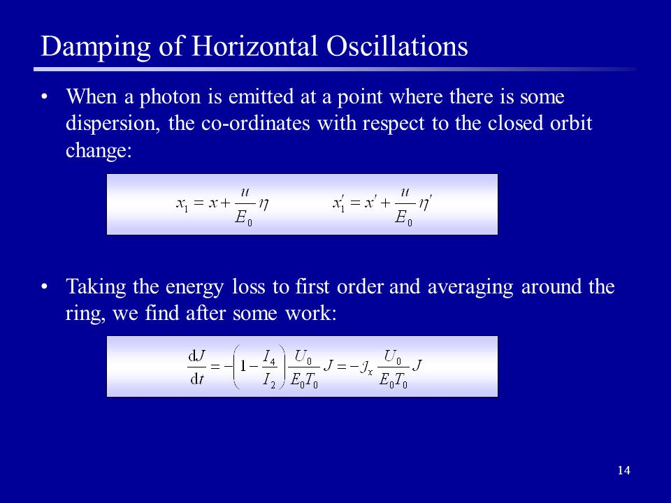 14 Damping of Horizontal Oscillations When a photon is emitted at a point where there is some dispersion, the co-ordinates with respect to the closed orbit change: Taking the energy loss to first order and averaging around the ring, we find after some work: