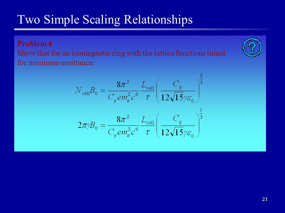 21 Two Simple Scaling Relationships Problem 4 Show that for an isomagnetic ring with the lattice functions tuned for minimum emittance: