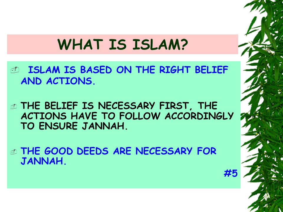 WHAT IS ISLAM?  ISLAM IS BASED ON THE RIGHT BELIEF AND ACTIONS.  THE BELIEF IS NECESSARY FIRST, THE ACTIONS HAVE TO FOLLOW ACCORDINGLY TO ENSURE JAN