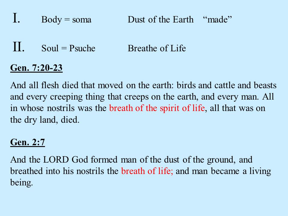 I.Body = somaDust of the Earth made II. Soul = Psuche Breathe of Life Gen.