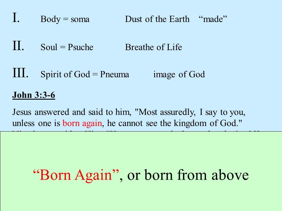 "I. Body = somaDust of the Earth ""made"" II. Soul = Psuche Breathe of Life III. Spirit of God = Pneuma image of God John 3:3-6 Jesus answered and said t"