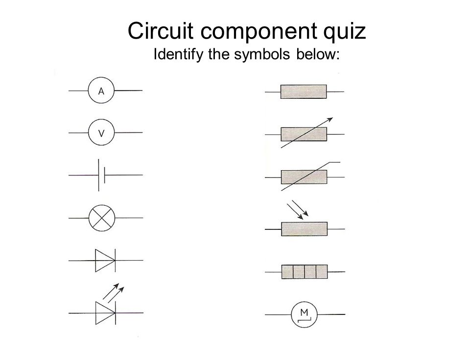 Answers : Circuit symbols quiz Circuit component quiz Identify the symbols below: