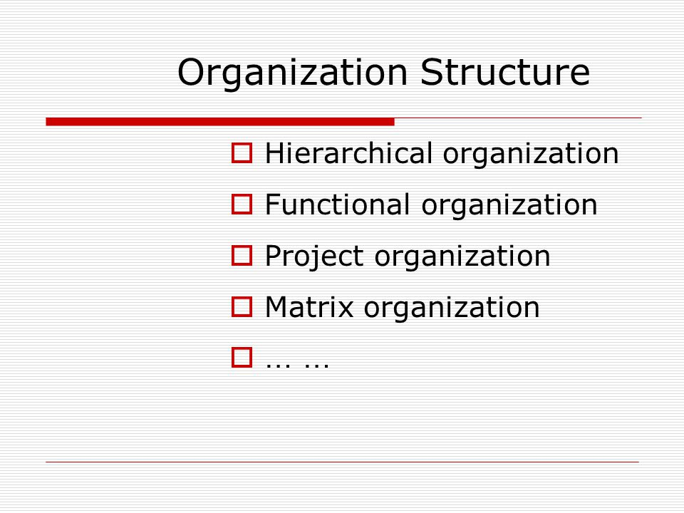 Organization Structure HHierarchical organization FFunctional organization PProject organization MMatrix organization …… …