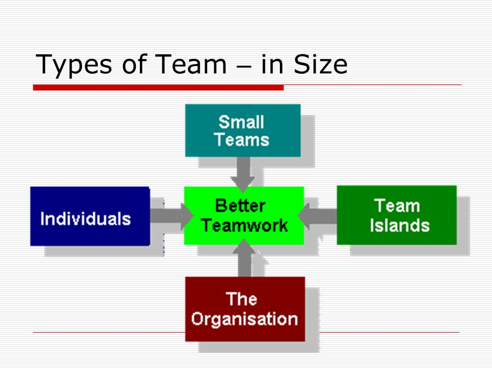 Types of Team – in Size