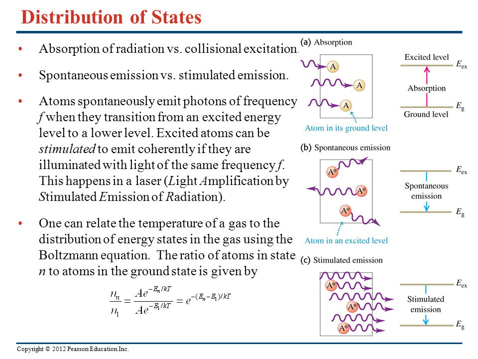 Copyright © 2012 Pearson Education Inc. Distribution of States Absorption of radiation vs. collisional excitation. Spontaneous emission vs. stimulated