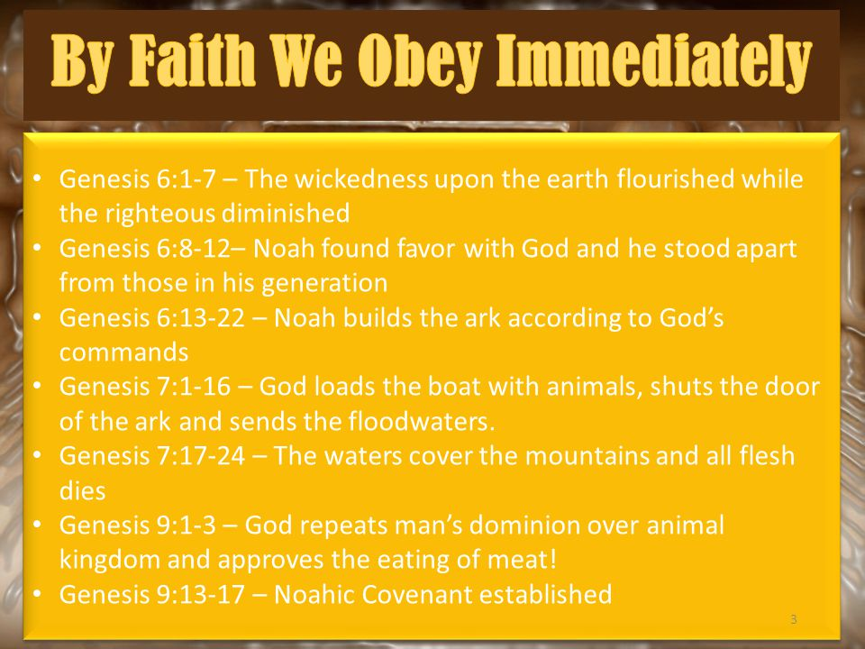 Genesis 6:1-7 – The wickedness upon the earth flourished while the righteous diminished Genesis 6:8-12– Noah found favor with God and he stood apart from those in his generation Genesis 6:13-22 – Noah builds the ark according to God's commands Genesis 7:1-16 – God loads the boat with animals, shuts the door of the ark and sends the floodwaters.