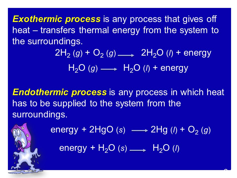 Exothermic process Exothermic process is any process that gives off heat – transfers thermal energy from the system to the surroundings. Endothermic p