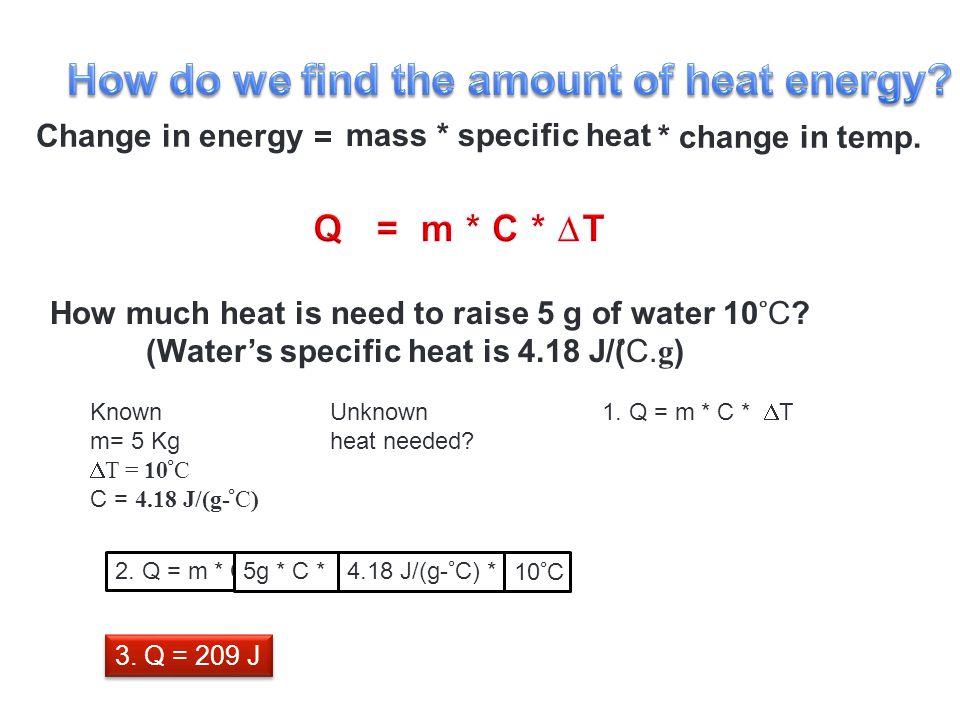 Change in energy = mass * specific heat * change in temp.