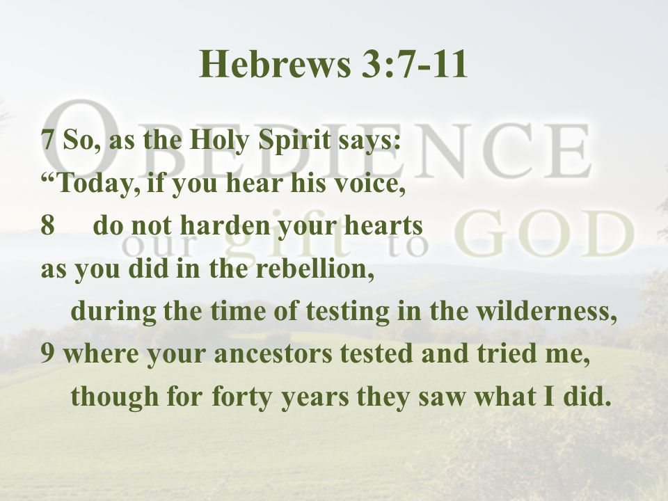 Hebrews 3:7-11 7 So, as the Holy Spirit says: Today, if you hear his voice, 8 do not harden your hearts as you did in the rebellion, during the time of testing in the wilderness, 9 where your ancestors tested and tried me, though for forty years they saw what I did.