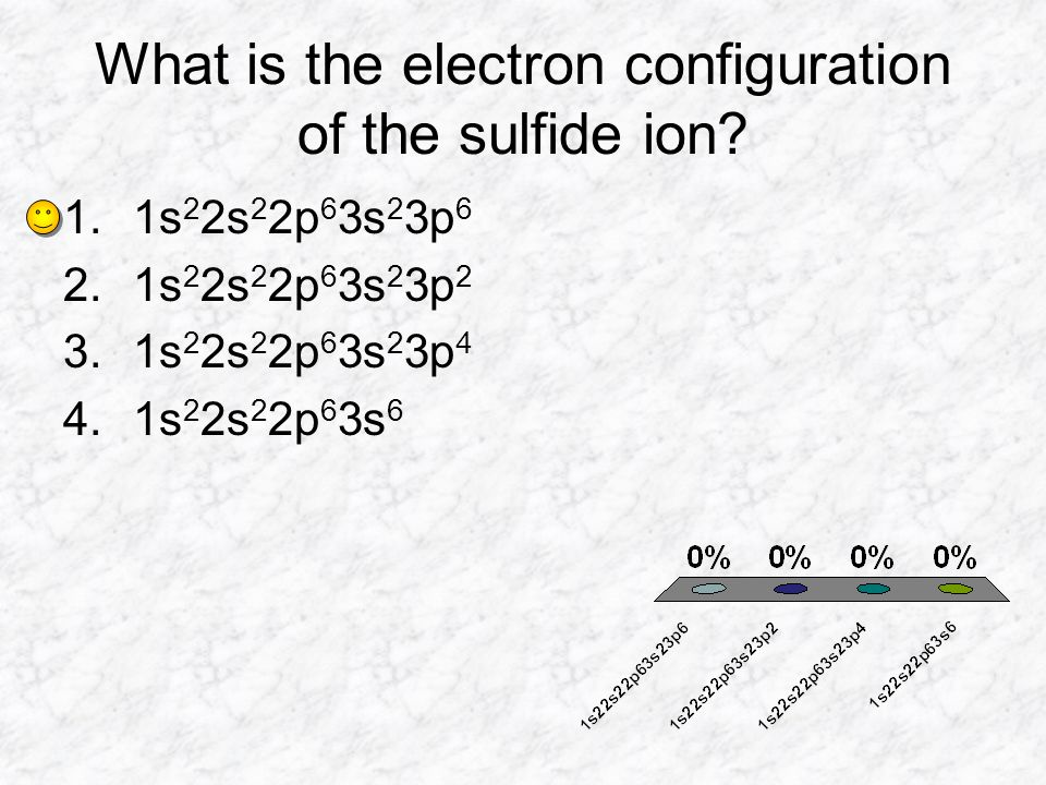 What is the electron configuration of the sulfide ion? 1.1s 2 2s 2 2p 6 3s 2 3p 6 2.1s 2 2s 2 2p 6 3s 2 3p 2 3.1s 2 2s 2 2p 6 3s 2 3p 4 4.1s 2 2s 2 2p