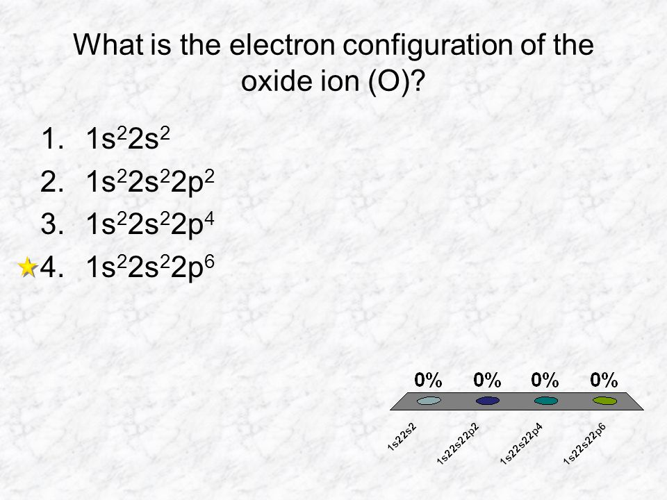 What is the electron configuration of the oxide ion (O)? 1.1s 2 2s 2 2.1s 2 2s 2 2p 2 3.1s 2 2s 2 2p 4 4.1s 2 2s 2 2p 6