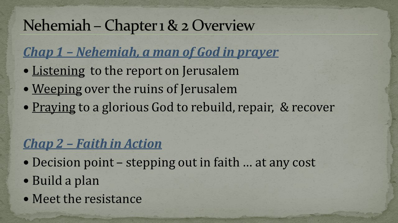 Chap 1 – Nehemiah, a man of God in prayer Listening to the report on Jerusalem Weeping over the ruins of Jerusalem Praying to a glorious God to rebuil
