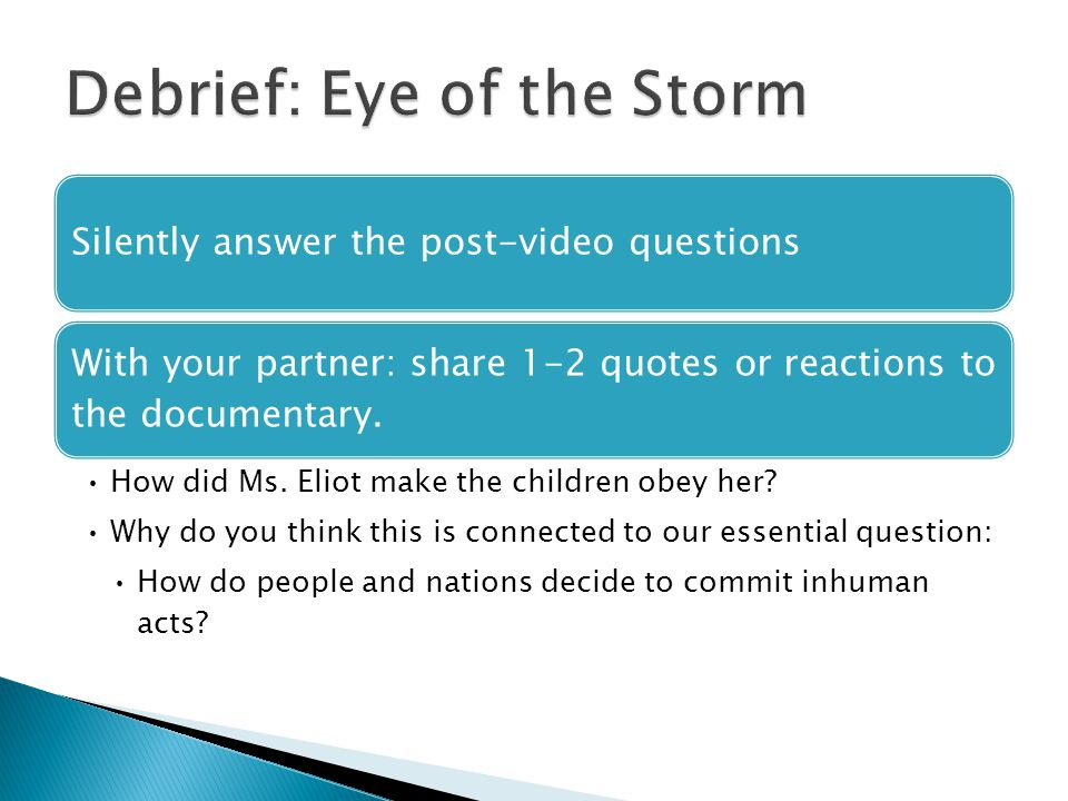 Silently answer the post-video questions With your partner: share 1-2 quotes or reactions to the documentary.