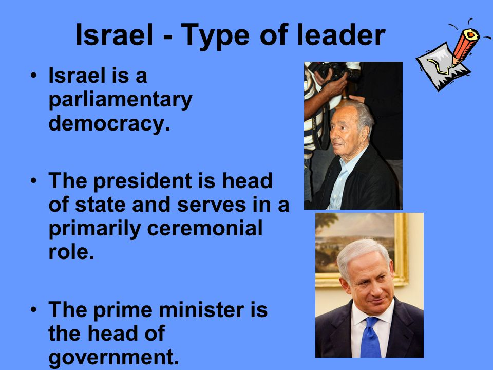 Israel – Becoming the leader President is elected by the Knesset (parliament).