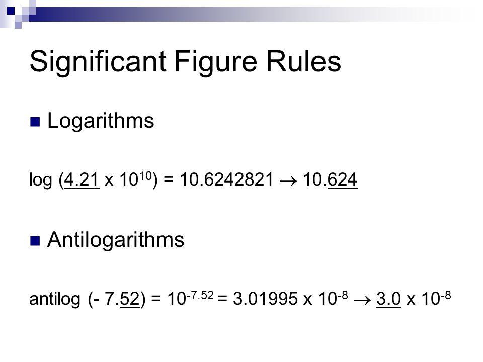 Significant Figure Rules Logarithms log (4.21 x 10 10 ) = 10.6242821  10.624 Antilogarithms antilog (- 7.52) = 10 -7.52 = 3.01995 x 10 -8  3.0 x 10 -8